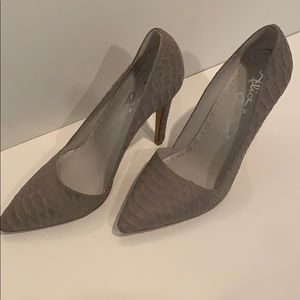 Alice and Olivia grey faux croc heels